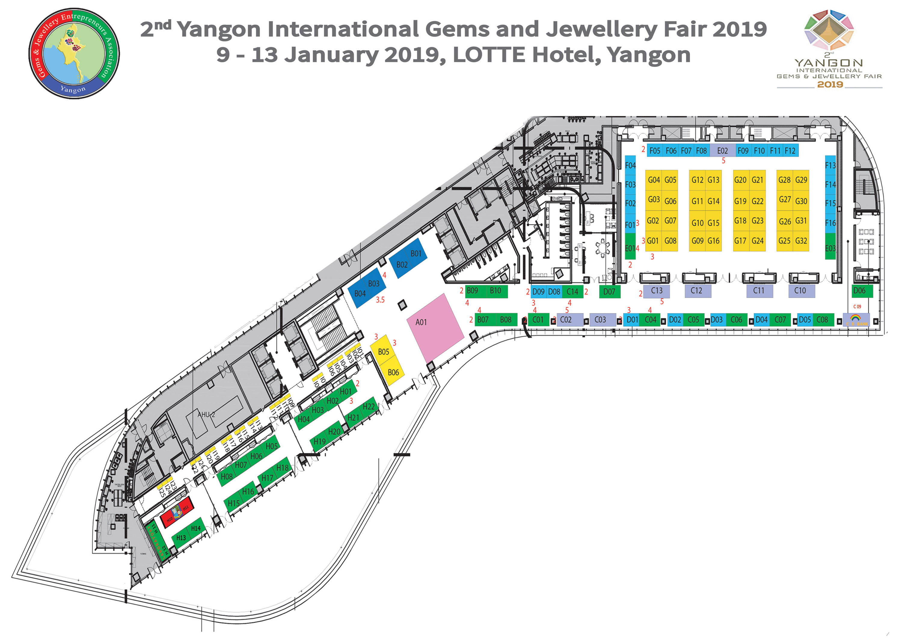 Floor Plan Yangon International Gems Jewelry Fair 2019